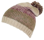 David & Young Adult Variegated Stripes Knit Winter Beanie Hat W/Pom Pom on Top