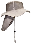 Tropic Hats Summer Cotton Wide Brim Mesh Safari W/Neck Flap & Snap Up Sides