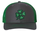 Tropic Hats Adult Embroidered Shamrock/Clover 6 Panel Trucker Cap W/Snapback