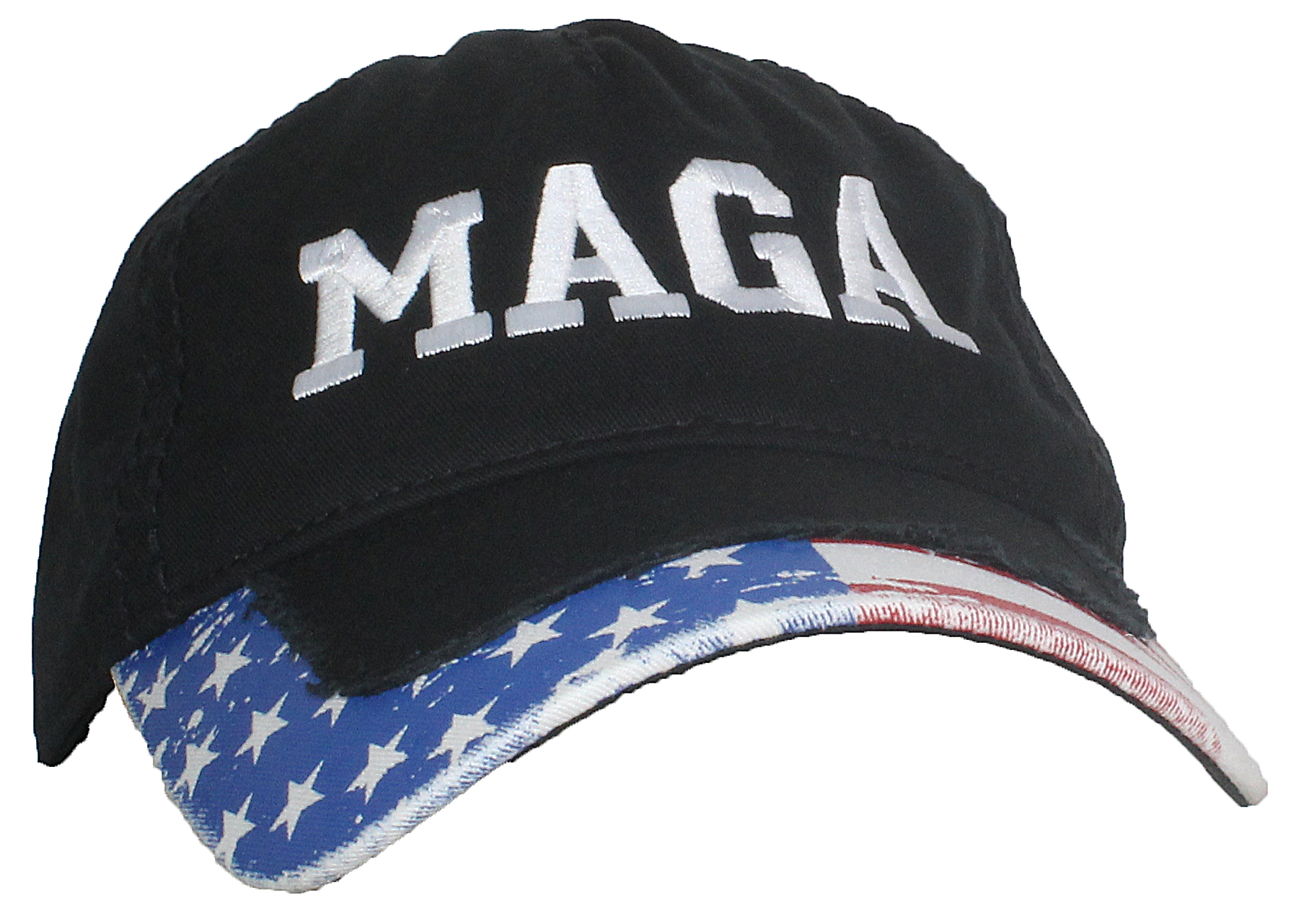 Tropic Hats Adult Embroidered MAGA Trump 5 Panel Dad Cap W/American Flag Bill