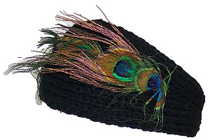 David & Young Womens Rib Knit Winter Headband W/Peacock Feathers & 2 Buttons