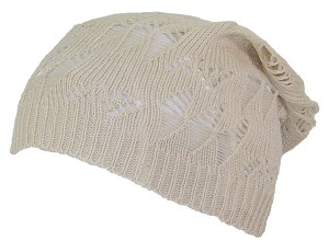 David & Young Womens Distressed Diamond Slouchy Loose Knit Cap
